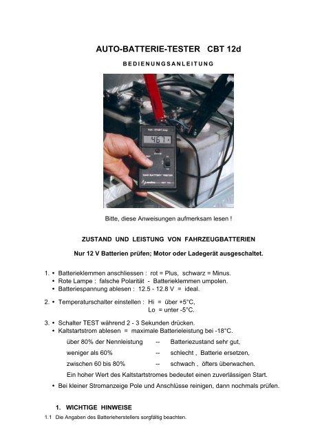 AUTO-BATTERIE-TESTER CBT 12d