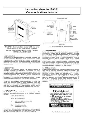 Instruction sheet for BA201 Communications Isolator - Ex-Baltic