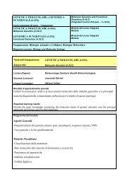 Genetica Molecolare - Medicina Veterinaria
