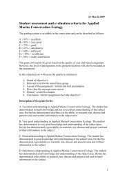 Student assessment and evaluation criteria for Applied Marine ...
