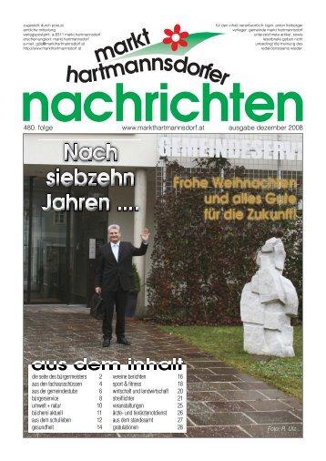 Markt Hartmannsdorfer Nachrichten, Folge 480, Dezember 2008