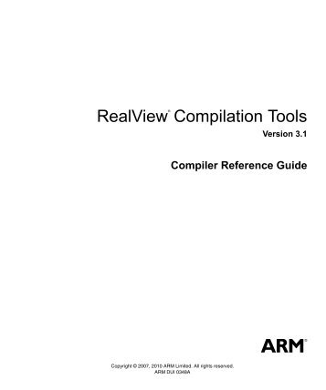 RealView Compilation Tools Compiler Reference Guide - ARM ...