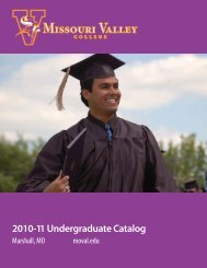 Course Catalog - Missouri Valley College
