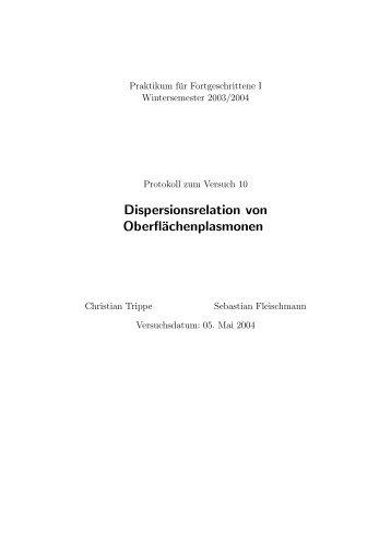 Dispersionsrelation von Oberflächenplasmonen - fleischmann-netz.de