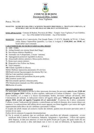 bando trattativa privata acquisto autoveicolo - Comune di Budoni
