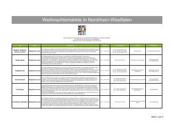 Download Liste Weihnachtsmärkte im ... - Tourismus NRW e.V.