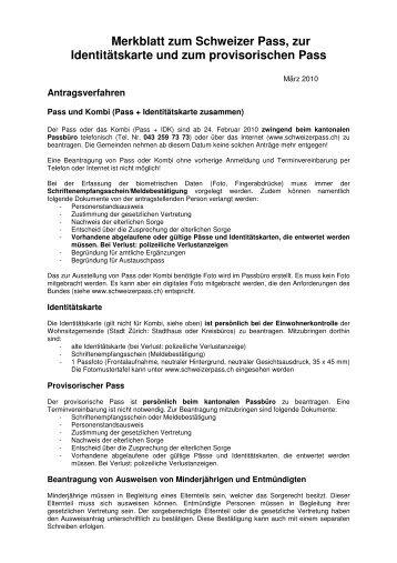 Merkblatt zum Schweizer Pass, zur Identitätskarte und ... - Neerach
