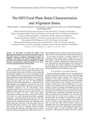 The HIFI Focal Plane Beam Characterization and Alignment Status
