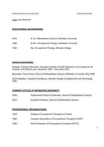 Joyce Tryssenaar CV - School of Rehabilitation Science - McMaster ...