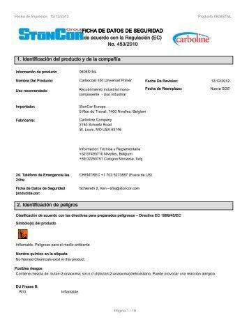 No. 453/2010 1. Identificación del producto y de la ... - Carboline