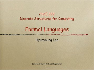 Formal Languages - TAMU Computer Science Faculty Pages