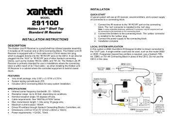 ir shelf top receiver  standard ir receiver xantech com