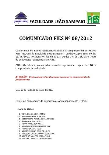 Aviso 08/2012 - Faculdade Leão Sampaio
