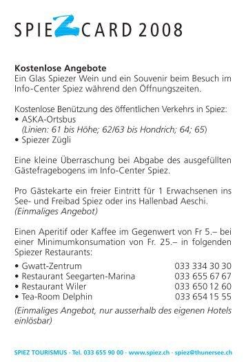 SPIE CARD 2008 - Bucht-Spiez.ch - in Spiez
