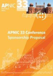 APNIC 33 Conference Sponsorship Proposal - APNIC Conferences