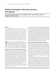 Athletic Participation After Hip and Knee Arthroplasty - Bulletin of the ...