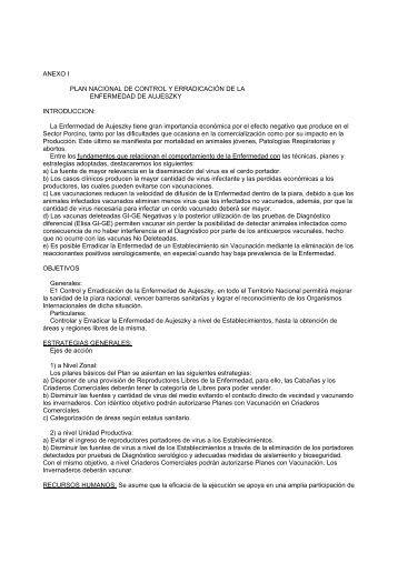 ANEXO I PLAN NACIONAL DE CONTROL Y ... - Senasa