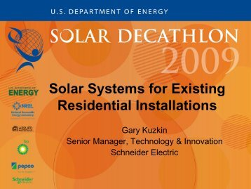 Solar Systems for Existing Residential Installations - Solar Decathlon