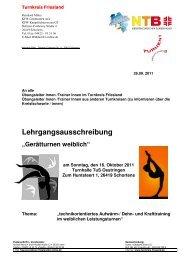 """Lehrgangsausschreibung """"Gerätturnen weiblich"""" - NTB"""