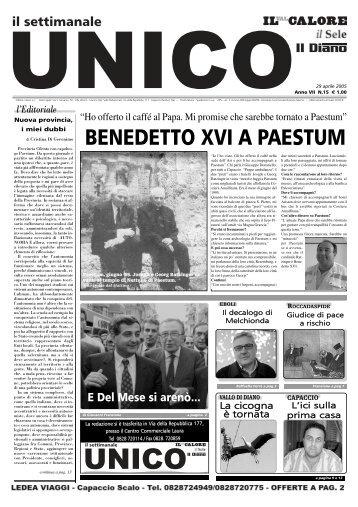 BENEDETTO XVI A PAESTUM - Unico