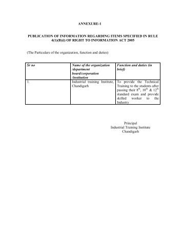 annexure-1 publication of information regarding items - Chandigarh