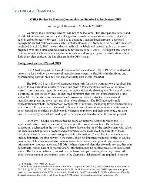 OSHA Revises Its Hazard Communication Standard to Implement