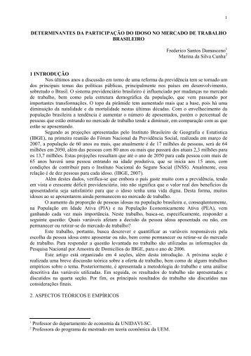 DETERMINANTES DA PARTICIPAÇÃO DO IDOSO NO MERCADO ...