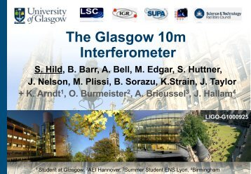 10m JIF prototype interferometer in Glasgow
