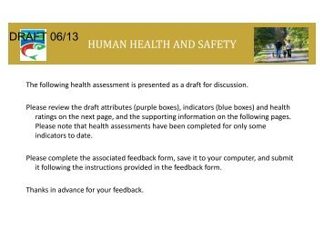 human health and safety draft 06/13 - Coquitlam River Watershed