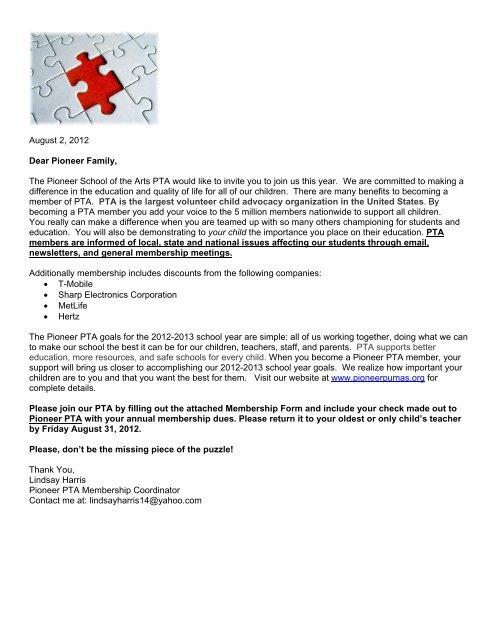 PTA Membership Sign-Up - Pioneer School of the Arts