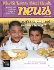 You're helping end summer hunger! - North Texas Food Bank