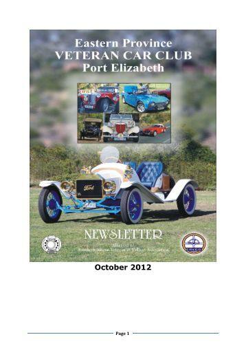 October 2012 - Eastern Province Veteran Car Club