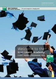 ClIent trAInIng ProgrAmme 2013 - BNP Paribas Investment Partners