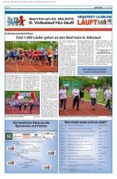 Start frei am 24. Mai 2013 6. Volkslauf HU-läuft Ein herzlicher Dank ...