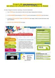 Ce que le site www.lasemaine.org permet aux acteurs de la ...