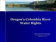 Columbia River Water Rights in Oregon