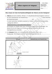 Alkane reagieren mit Halogenen - Chemiezauber.de