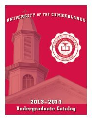 2013–2014 Undergraduate Catalog - University of the Cumberlands