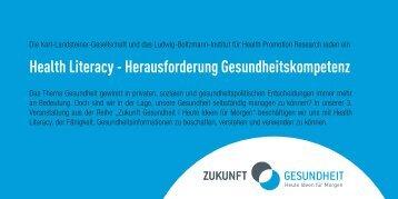 Health Literacy - Herausforderung Gesundheitskompetenz - Ludwig ...