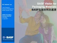 BASF Vision for Packaging Materials BASF包装材料的愿景 - 巴斯夫