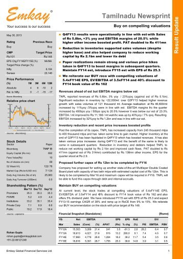 TNPL Q4FY13 Result Update - Emkay Global Financial Services Ltd.