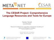 The CESAR Project: Comprehensive Language Resources and ...