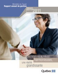 Rapport annuel de gestion 2010-2011 - Ministère du Travail ...