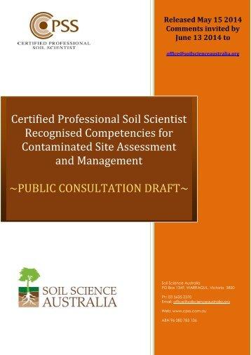 PUBLIC_CONSULTATION_DRAFT Contaminated Site Assessment and Management
