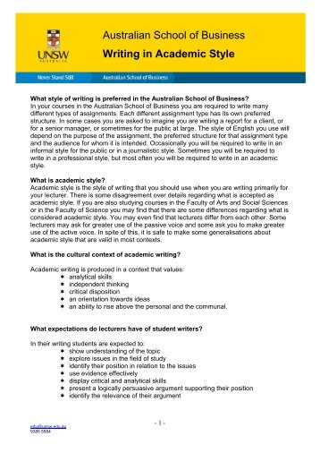 Academic style guide writing essay