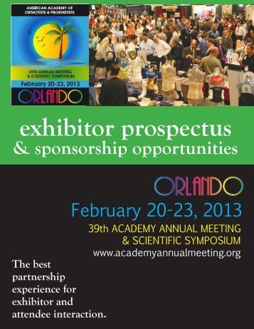 exhibitor prospectus - American Academy of Orthotists & Prosthetists