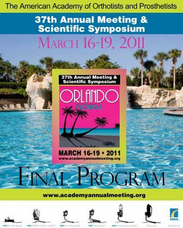 Final PrograM - American Academy of Orthotists & Prosthetists