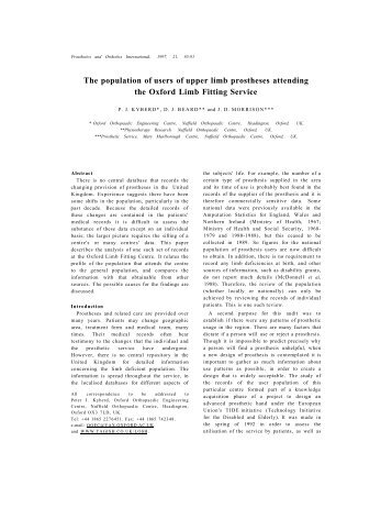 The population of users of upper limb prostheses attending the ...