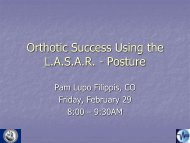 Orthotic Success Using the L.A.S.A.R. - Posture