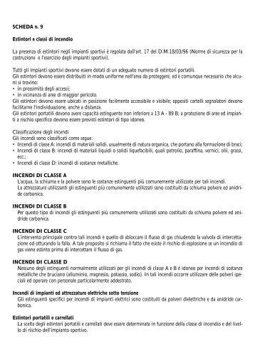 SCHEDA n. 9 Estintori e classi di incendio La ... - Coni Puglia